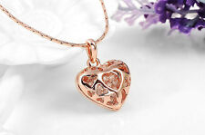 ROSE GOLD FILLED HEART CRYSTAL PENDANT NECKLACE ROXI BRAND UK SELLER