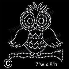 Owl Rhinestone/Diamante Transfer Hotfix Iron on Motif Applique with a Free Gift