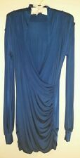 SAVEE COUTURE ROYAL BLUE DRAPERY WRAP MINI DRESS - Size M, Orig $187, Pre-owned