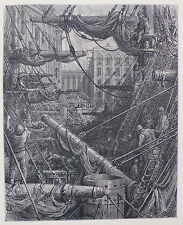 Doré-Londres; 'dentro de los muelles's, antiguo grabado en madera, C.1870