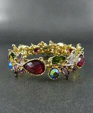 VICTORIAN STYLE MULTI COLOR CRYSTAL LEAF GOLD TONE FINISH CUFF BANGLE BRACELET
