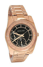 Michael Kors MK6234 Ryland Black Date Dial Rose Gold Steel Band Women Watch NEW