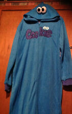Cookie Monster One Piece Pajamas Adult L/XL Sesame Street Blue NEW Union Suit
