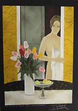 """""""Jeune femme nue aux tulipes"""" Lithographie signée Yves GANNE"""