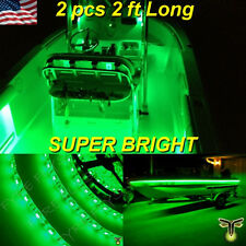 "2x 2' (24"") Green LED Boat Deck Light Waterproof Bow Trailer Fishing Pontoon 12v"
