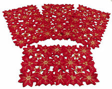 "Flor de Navidad Collection Red Embroidered Cutout Poinsettias 12x18"" Set of 4"
