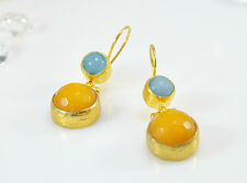 OttomanGems semi precious gemstone earrings 21ct gold plated Jade Agate handmade