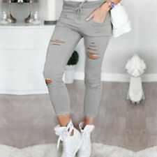Womens Casual Destroyed Ripped Jeans Trousers Stretchy Slim Leggings Denim Pants