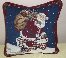 "Santa Claus Chimney Top Tapestry Christmas Pillow 11.5"" by Designer's Touch"