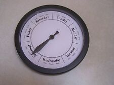 DAY OF THE WEEK CLOCK Black Plastic Frame Contemporary Dial