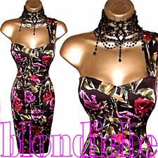 KOOKAI Exquisite RARE Mulberry FLORAL Corset WIGGLE DRESS  UK 10