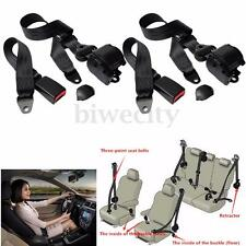 2Pcs Universal Retractable 3 Point Auto Car Safety Seat Belt for All Car Black