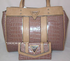 GUESS Jacksonville Shoulder Bag Purse Tote Shopper Wallet Croco Triangle Logo