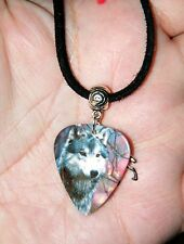 "WOLF NECKLACE TIBET SILVER CHARM GRAY WOLF! Leather CHOKER GUITAR PICK  29"" NEW!"