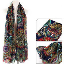 Fashion Women Lady Chiffon Print Silk Long Neck Scarf Shawl Scarves Stole Wraps