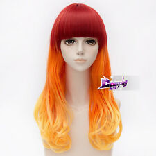 55cm Red Mixed Orange Long Curly Hair Lolita Ombre Anime Cosplay Wig + Cap