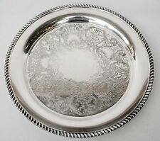 "W.M. Rogers Vintage Silver Plate, 15 1/2"" Round Tray Serving Plater Stamped"