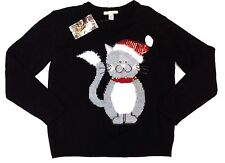 Love by Design Kitty Bell Ugly/Cute Holiday Christmas Cat Sweater Women XL Black