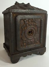 Antique Cast Iron Coin Deposit Bank Toy Safe Metal with Handle Angels Vintage