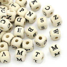 50X Natural Mixed Wooden Alphabet Letter DIY Cube Style Charms Beads Craft Tool