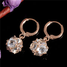 Pretty Ball 18K Gold Filled cubic zirconia Cute Women Dangle Earrings Ear Hoop