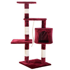 """New 41"""" Cat Tree Condo Furniture Scratching Post Pet Cat Kitten House Red Wine"""