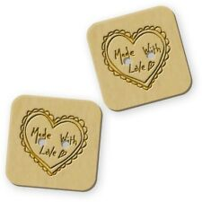 12 x 23mm 'Made With Love' Square Wooden Buttons (BT00007154)