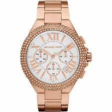 NEW MICHAEL KORS MK5636 CAMILlE LADIES ROSE GOLD PAVE CRYSTALS CHRONO WATCH