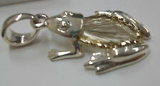 "LARGE FROG PENDANT STERLING SILVER 925 LARGE LOOP WIRES ON BACK GOOD FORM 2""LNG"