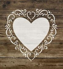 A5 Stencil Shabby Chic, 'HEART' French, Furniture, Fabric, Glass, Mylar (31)