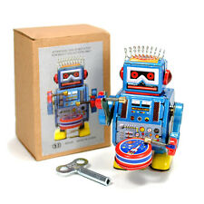 "TIN TOY ROBOT 3.5"" Wind Up Retro Vintage Style Blue Metal NIB Space Collectable"