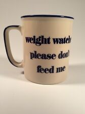 Vintage - Weight Watcher Please Don't Feed Me - Coffee Cup - Blue/Cream - Japan