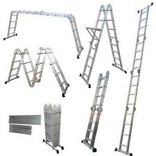 4.75M Multi Purpose Aluminium Extension Ladder Platform Step With Tool Tray New