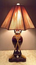 "Faux Burlwood Resin Cast Table Lamp, Antique Golf Clubs, Balls~28""~Made in USA"