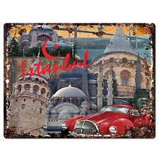 PP0786 Istanbul Classic Car Chic Plate Sign Home Shop Restaurant Cafe Decor