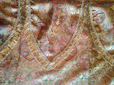 "Tuscan Gold Fringed Jacquard Window Curtains Drapes 52 "" x 60 "" Set of 2 Panels"