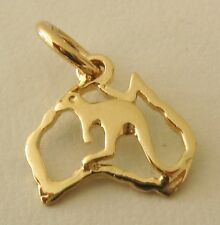 SOLID 9K 9ct Yellow GOLD AUSTRALIA MAP with KANGAROO Charm/Pendant