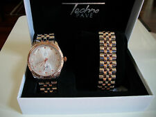 Silver/Rose Gold Finish Iced Out Techno Pave Rapper Style Watch/Bracelet Combo