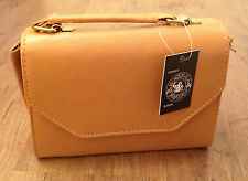 Tan Small Leather Look Flap Over Handbag RRP £15.00 - Brand New With Tags