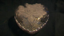 INTERLOCKING CLEAR GLASS HEART CANDY OR TRINKET DISH, WITH RAISED HEARTS