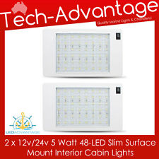 2 X 12V/24V 5W 48-LED SLIM SURFACE MOUNT INTERIOR CABIN/BOAT/CARAVAN LED LIGHTS