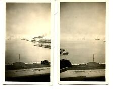 2 Water Views-Manila Bay-Philippines-Ships-WWII Era Pictures-Snapshot Photograph