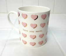 Coffee Mug LOVE YOU MORE Pink Gold Hearts White Porcelain Let's Dine 16 oz New