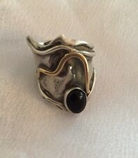 Vintage Native American Silver, Gold & Onyx Ring
