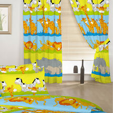 "Children's Bedroom Curtains Savannah Animals 66"" by 72"" & Tiebacks Baby Nursery"