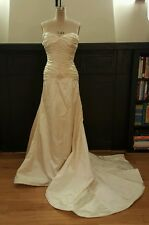 LAZARO sample silk satin off white gown fits like small/ med. No size tag.