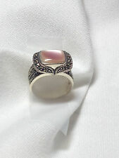 Pink Moonstone Marcasite Ring - Art Deco Ring -Cocktail Ring - Sterling Silver