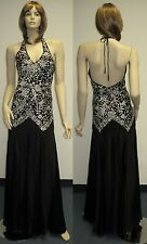 Sue Wong S7402 Designer Dress Sz 6 Gown Wedding Evening Black Ivory Sequin