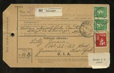 NORWAY PARCEL POST LABEL 1946 to USA...2.2 KRONE