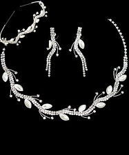 Bridal Crystal Rhinestone Marquise Pearl Vine Necklace & Tiara Headband Set